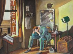 ERNIE BARNES (American, 1938-2009)  Merde (Actor in His Dressing Room)  Oil on canvas  18 x 24 inches (45.7 x 61.0 cm)  Signed lower right: Ernie Barnes