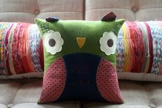 Fall Colors Owl Pillow Cover