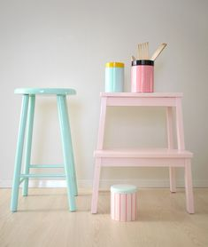 Pinjacolada: Passion for pastel colours // Bekvam stool Soft Colors, Pastel Colors, Pastel Pink, Pastel Room, Pastel Palette, Pastel Shades, Neon Colors, Bright Pink, Casa Color Pastel