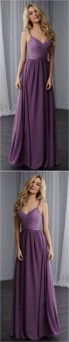 Simple Spaghetti Straps A-Line Purple Chiffon Long Prom Dress 51946 #RosyProm #fashionpromdress #charmingpromgown #longpartydress #simpleeveningdress #purplepromdress #spaghettistrapspromgown
