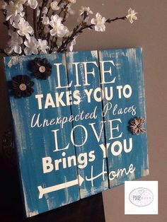 Hand painted Rustic pallet Sign life takes by PixieDustLouisville. Rustic Signs Home Decor Pallet Crafts, Pallet Art, Pallet Signs, Wood Crafts, Diy And Crafts, Pallet Ideas, Rustic Signs, Wooden Signs, Wooden Decor