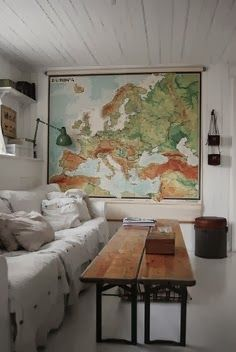 Map on Wall of Drawing Room