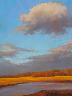 Ed Chesnovitch, landscape pastel painting, Cape Cod, East Sandwich, Provincetown, sunset, salt marsh, ocean, sunrise