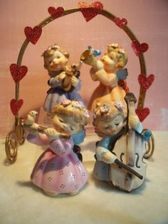 SPRING-4-Vintage-LEFTON-149-Musical-Instrument-Angel-Figurines-W-Birds-SoO-CUTE