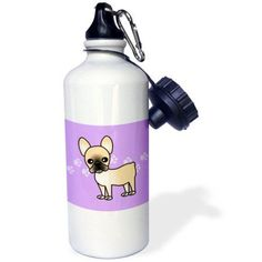 3dRose Cute Black Masked Fawn Cream French Bulldog Purple with Pawprints, Sports Water Bottle, 21oz