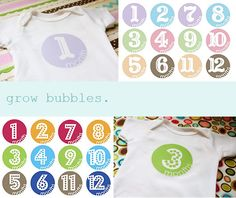 Free printable template to attach to onesies for each month of a new baby's first year.  Great baby gift idea!