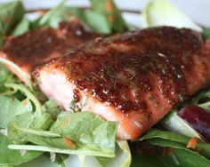 Cider-Glazed Salmon with Watercress, Endive and Red Grape Salad #Salmon #dinner❤️