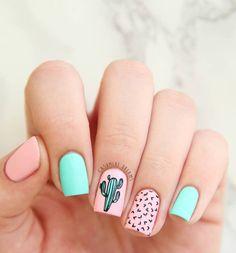 Simple & Easy Gel Polish Nail Art Design & Ideas for 2018 Gel-Nagellack-Kunst für 2018 Cute Summer Nail Designs, Cute Summer Nails, Spring Nails, Nail Summer, Nail Art Ideas For Summer, Summery Nails, Summer Nails 2018, Summer Design, Nails Summer Colors
