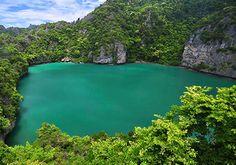 Talay Nai Lagoon at Mu Koh Angthong National Park in Surat Thani province.