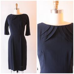 1950's Leslie Fay navy blue crepe wiggle dress