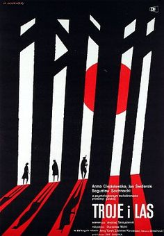 This poster was created by Witold Janowski in 1961 for a film called 'Troje i Las'. The minimal graphic nature of the image is so bold and really grabbed my attention - it would be amazing to see more. Poster Design, Graphic Design Posters, Graphic Design Typography, Graphic Design Illustration, Graphic Design Inspiration, Graphisches Design, Buch Design, Polish Movie Posters, Polish Films