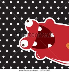 Monster happy birthday, or valentine's card with cute monster, vector