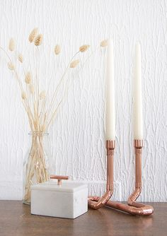 This copper (rose gold colour) candle holder will complement your home, shop, or studio and is even perfect for wedding center pieces. Each candle holder is made to order from industrial copper pipes and fittings. Once finished your candle holder will be sanded, polished and