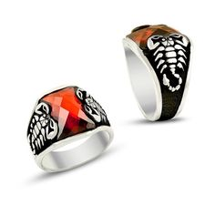 Scorpion mens ring with zirconia islamic by ConstantinopleJewel