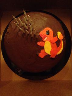 charmander cake. Pokemon Party, Pokemon Birthday, Turtle Birthday, 9th Birthday, Birthday Parties, Birthday Ideas, Pikachu Cake, Cute Cakes, Cake Creations