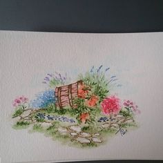 Just one more..I love tipping the buckets on their sides so all the pretty flowers spill out...was trying to make it look like a flower garden #watercolortheartimpressionsway #watercolor #spring #flowergardens #aistamps