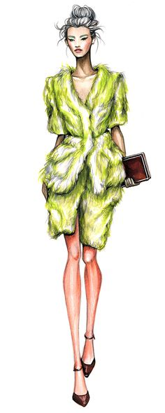 Ideas fashion drawing illustration texture for 2019 Moda Fashion, Trendy Fashion, Fashion Art, School Fashion, Silhouette Mode, Fashion Illustration Dresses, Fashion Illustrations, Manequin, Green Fur
