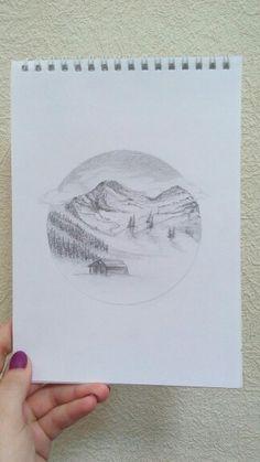Mountain. Pencils
