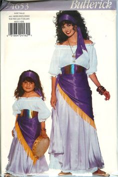 Gypsy Mom and daughter - fun! Butterick 4653 Misses Girls Gypsy Dancers Dress Sash Costume Pattern UNCUT FF #ButterickSewingPattern4653