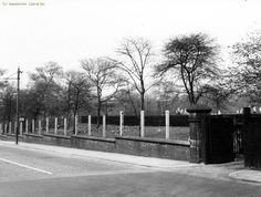 Rochdale Road, Boggart Hole Clough Bowling Green in background, 1958 Blackley, Manchester. 1