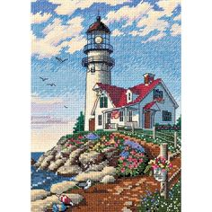 "Gold Collection Petite Beacon At Rocky Point Counted Cross S-5""X7"""