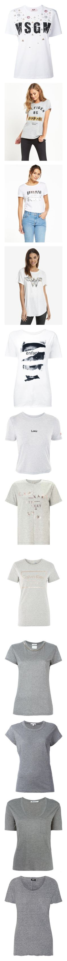 """""""T"""" by aliceridler ❤ liked on Polyvore featuring tops, t-shirts, white, white cotton tee, beaded top, white beaded top, logo tee, white cotton t shirts, slim fitted t shirts and white tops"""