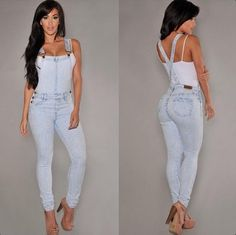 Women's summer hole in denim overalls condole belt conjoined pair of jeans