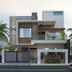 Modern Small House Design, Modern Exterior House Designs, Latest House Designs, Dream House Exterior, Exterior Design, Exterior Colors, Modern Bungalow Exterior, Small Modern Home, 3 Storey House Design