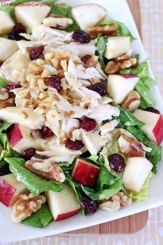Cranberry Apple Chicken Salad w/ Honey Mustard Dressing #salad #chicken #apples