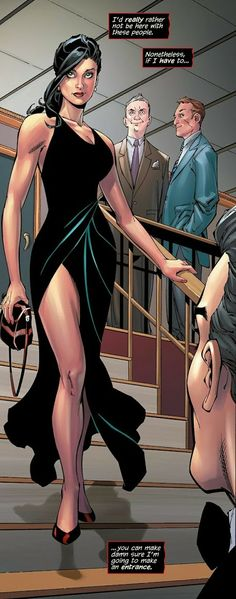 Selina Kyle in Catwoman #25  I'll give them top marks for the dress (Herve Leger?) showing off those famous legs, and doing away with the stupid Pixie cut.  Nice to see her with long hair again and dressing with taste - but oh, fellas, you still need a woman whispering in your ear.  That is NOT an evening bag.