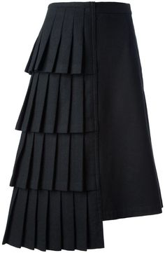 Shop Comme Des Garçons Vintage asymmetric skirt in House of Liza from the world… Kaufen Sie bei Comme Des Garçons Vintage Asymmetric Rock in House [. Look Fashion, Fashion Details, Skirt Fashion, Fashion Dresses, Fashion Design, Black Pleated Skirt, Asymmetrical Skirt, Wool Skirts, Mode Style