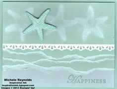 Handmade card by Michele Reynolds, Inspiration Ink, using Stampin' Up! products - By the Seashore Set, Loving Thoughts Set, Core'dinations Card Stock, and Finishing Touches Edgelits.
