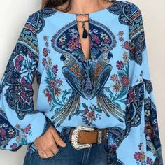 """This women's casual top provides a fresh new look for your spring and summer wardrobe."" #lanternsleevetop #longsleevefloralblouse Hippie Chic, Boho Chic, Style Boho, Ethnic Style, Bohemian Tops, Bohemian Blouses, Bohemian Clothing, Oversized Blouse, Pink"