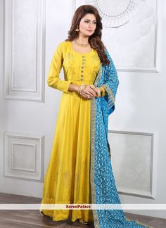 Readymade Gown Handwork Silk in Yellow Abaya Fashion, Fashion Pants, Readymade Salwar Kameez, Kurti, Silk Anarkali Suits, Straight Cut Pants, Yellow Online, Designer Gowns, How To Dye Fabric