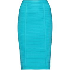 Hervé Léger - Bandage Pencil Skirt ($276) ❤ liked on Polyvore featuring skirts, turquoise, blue bodycon skirt, knee length bodycon skirt, body con pencil skirt, 80s skirts and blue skirt