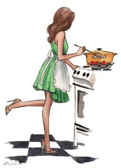Cooking, Kuhanje, Kochen, Zeichnung, Painting, Green Dress, Kitchen, Kuhinja, Küche, Sexy Woman, Seksi Zena, Devojka
