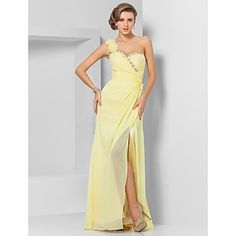 Sheath/Column One Shoulder Floor-length Chiffon Evening/Prom Dress  – USD $ 89.99