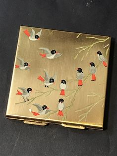 Vintage Square MAKE UP POWDER MIRROR COMPACT Gold Tone with Little Birds #unbranded