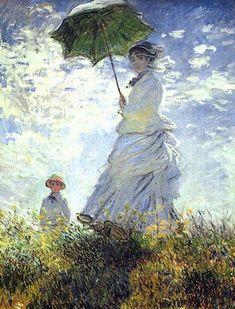 <모네, '파라솔을 든 여인', (1875) >  그림을 살펴보면 양산을 쓰고 언덕 위에 올라가 있는 카미유의 모습이 마치 여신과도 같이 표현되어 있다. 카미유의 하얀 옷의 섬세한 주름과 흩날리는 머리카락은 마치 공기와 바람을 살아 움직이는 듯 나타내고 있다. 바람이 불어와서 그녀를 감싸고 있는 그 순간의 모습을 실감나게 표현하고 있다. 또한 화려한 배경묘사로 인물과 배경이 하나로 어우러지는 느낌을 받을 수 있다. 빈곤한 생활을 계속해왔던 모네는 아내인 카미유와 아들 쟝에게서 삶의 의미를 찾곤 했는데, 이 작품은 가족에 대한 사랑이 애틋하게 느껴지는 작품이다. 모네는 '야외의 인물을 풍경화처럼 그리는 것이 나의 오랜 소망이었지.'라는 말을 하였는데, 모네의 이 말처럼 카뮤이는 풍경의 일부가 되어 모네의 가슴 속에 남아있는 듯 하다