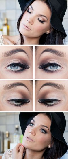 Soft eye makeup. So beautiful. Light brown eyeshadow in the crease making the v. And liquid eyeliner winged