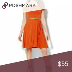 """NWT Sexy Cute Off Shoulder Skater Dress EXCLUSIVE SOLD OUT a MUST HAVE gorgeous dress in color """"Sweltering Sun"""" to wear for a night out, a special occasion or even to work. Can be dressy or casual. Beautiful burnt orange. 95% Poly/5% Spandex. Stretch/very nice material. Super comfortable to wear. I have 2 of my own with one in navy. New York & Company Dresses"""