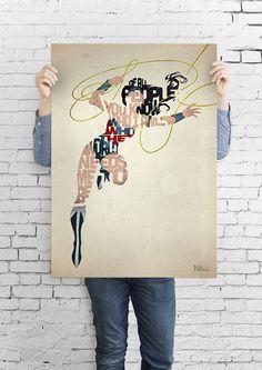 Wonder Woman typography art print poster