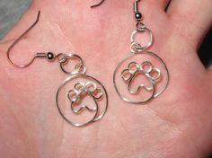 Wire Wrapped Paw Print MADE to ORDER Earrings by 1ofAkinds on Etsy