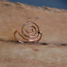 Artisan Copper Ring - Simple Swirl, Wire Wrapped, Handcrafted. $17,00, via Etsy.