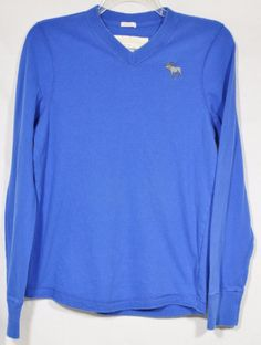 ABERCROMBIE & FITCH Mens Blue V-Neck Pullover Large Muscle Fit 100% Cotton #AbercrombieFitch #Pullover