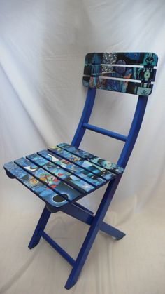 OOAK Unique Decoupage Wooden Garden Chairs - upcycled - folding - festival £70.00