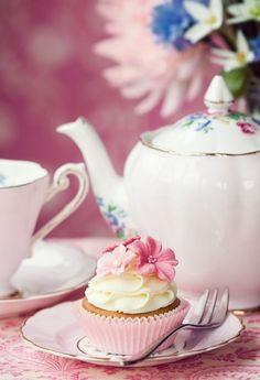 Tea and Delicate Cupcake