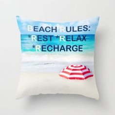 Positive ocean/beach throw pillow cover. Take a piece of summer in your house! #pillow #throwpillowcover #pillowcase #pillowcover #ocean #beach