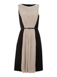 Adrianna Papell Pleat front chiffon crepe dress black multi - House of Fraser