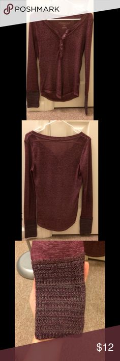 Cute Henley Long Sleeve Very cute henley long sleeve shirt with cuff details (third picture) from Aeropostale. Worn a few times but still in great condition. Is a light fabric and may be a little see through, but it's not bad. No rips, stains, or tears. Feel free to make an offer! Aeropostale Tops Tees - Long Sleeve